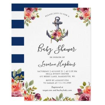 Nautical Anchor Floral Navy Stripes Baby Shower Invitation