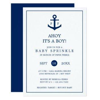 Nautical Anchor Monogram Boy Baby Sprinkle Invitation