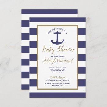 Nautical Anchor Navy Blue Stripes Boy Baby Shower Invitation