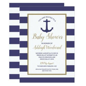 Nautical Anchor Navy Blue Stripes Boy Baby Shower Invitation