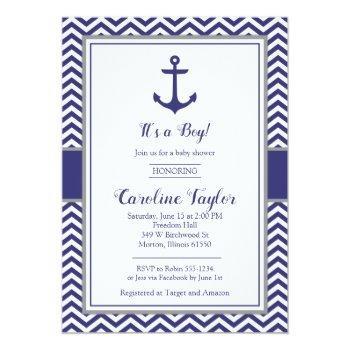 Nautical Anchor Navy Gray Baby Shower Invitation