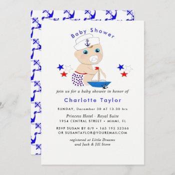 Nautical Baby Shower Boy Sailor Cute Blue