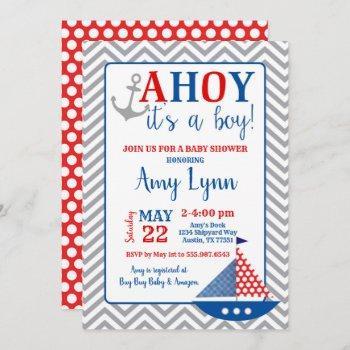 Nautical Baby Shower Invitation Ahoy Its A Boy
