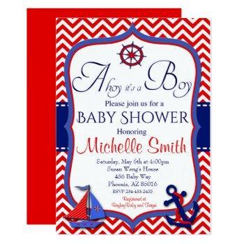 Nautical Baby Shower Invitation, Ahoy It's A Boy Invitation