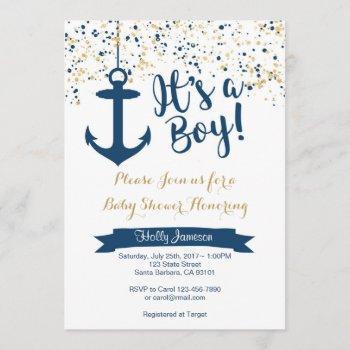 Nautical Baby Shower Invitation- Navy And Gold Invitation