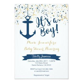 Nautical Baby Shower Invitation- Navy And Gold Invitation
