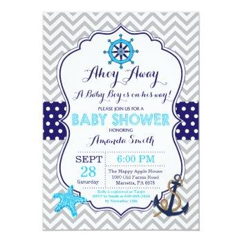 Nautical Baby Shower Invitation Navy Blue Gray