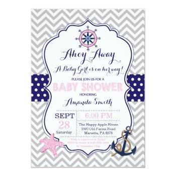 Nautical Baby Shower Invitation Navy Pink Gray