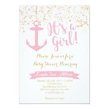 Nautical Baby Shower Invitation- Pink And Gold Invitation