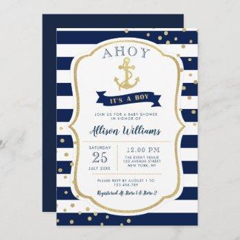 Nautical Blue Baby Shower Invitation