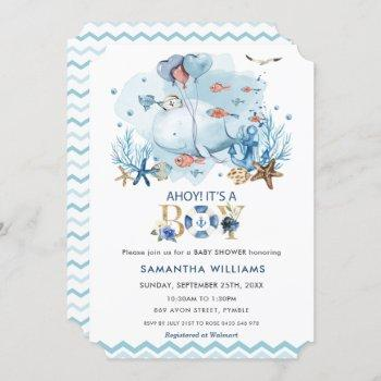 Nautical Blue Whale Ahoy It's A Boy Baby Shower Invitation