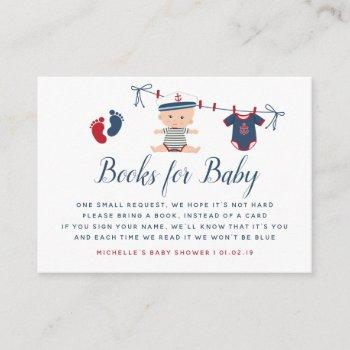 Nautical Boy Baby Shower Book Request Enclosure Card