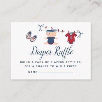 Nautical Boy Baby Shower Diaper Raffle Enclosure Card