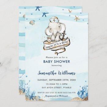 Nautical Elephant Ahoy It's A Boy Baby Shower Invitation