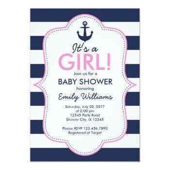 Nautical Girl Baby Shower Invitation