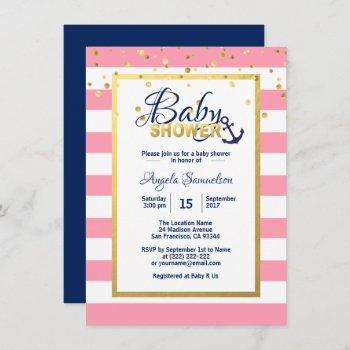 Nautical Gold Navy Blue White Pink Baby Shower