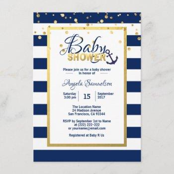 Nautical Gold Navy Blue White Stripes Baby Shower Invitation