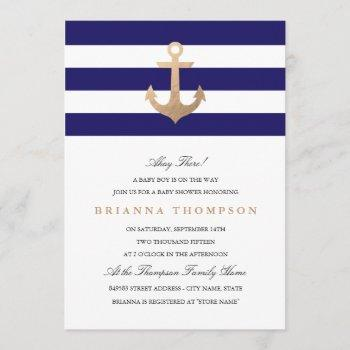 Nautical Navy Baby Shower Invitation