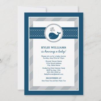 Nautical Navy Blue Gray Whale Boy Baby Shower