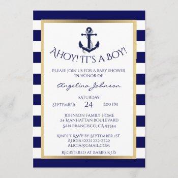 Nautical Navy Blue/white Boy Baby Shower Invites