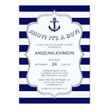 Nautical Navy Blue White Stripes Baby Shower Invitation
