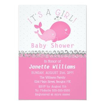 Nautical Pink Whale It's A Girl Baby Shower Invitation