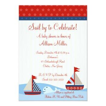 Nautical Sail By To Celebrate Boy Baby Shower Invitation