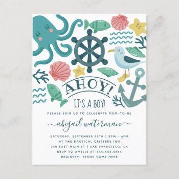 Nautical Sea Critters Ahoy! It's A Boy Baby Shower Invitation Postcard