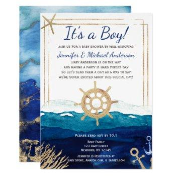 Nautical Watercolor Boy Baby Shower By Mail Invitation