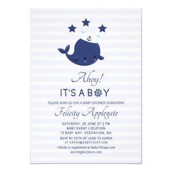 Nautical Whale Ahoy Its A Boy Baby Shower Invitation