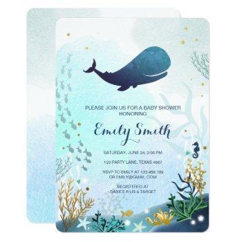 Nautical Whale Baby Shower Invitation Ocean Ahoy