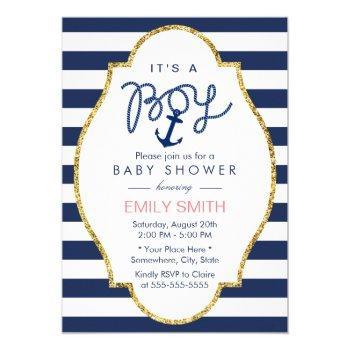 Navy Blue Anchor Nautical Stripes Boy Baby Shower Invitation
