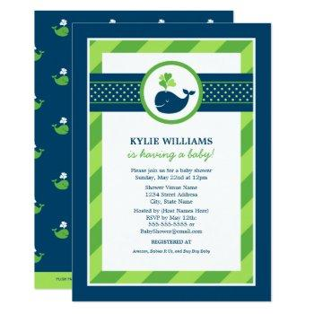 Navy Blue And Green Nautical Whale Baby Shower Invitation