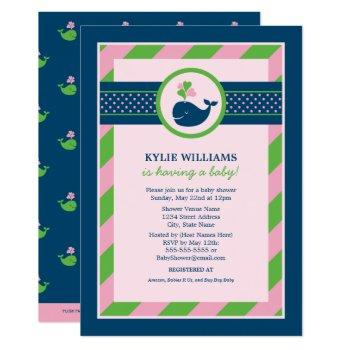 Navy Blue And Pink Nautical Whale | Baby Shower Invitation