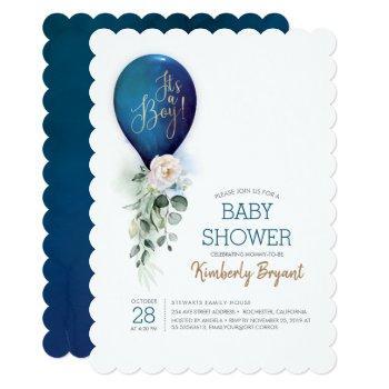 Navy Blue Balloon It's A Boy Baby Shower Invitation