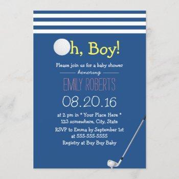 Navy Blue Stripes Golf Boy Baby Shower Invitation