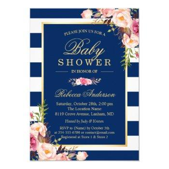Navy Blue Stripes Pink Floral Classy Baby Shower Invitation