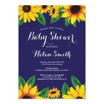 Navy Blue Sunflowers Baby Shower Invitation