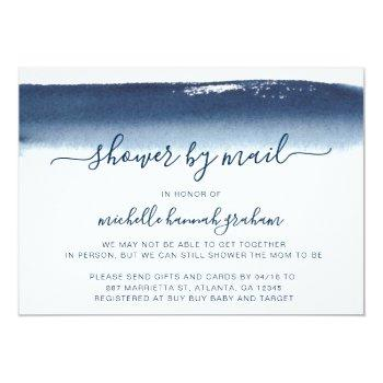 Navy Blue Watercolor Boy Baby Shower By Mail Invitation
