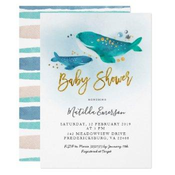 Navy Blue Whale Baby Shower Invitation