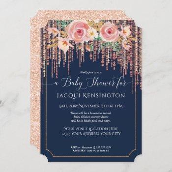 Navy Fringe Rose Gold Blush Pink Floral Shower