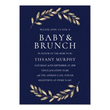 Navy & Gold Leaf Wreath Baby Shower Brunch Invite