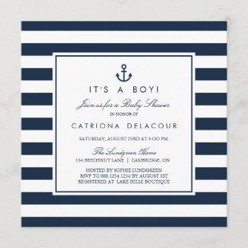 Navy Nautical It's A Boy Baby Shower Invitation