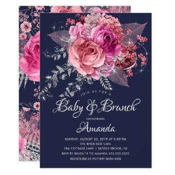 Navy Pink & Silver Floral Baby Brunch Shower Invitation