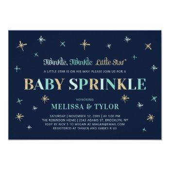 Navy Twinkle Twinkle Little Star Boy Baby Sprinkle Invitation