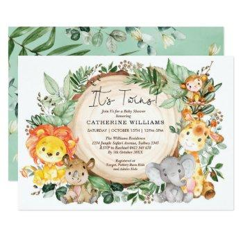 Neutral Greenery Jungle Animals Twins Baby Shower Invitation