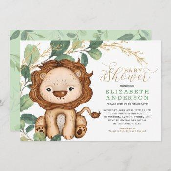 Neutral Lion Soft Greenery Gold Baby Shower Invitation