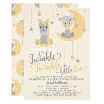 Neutral Twinkle Little Star Animals Baby Shower Invitation