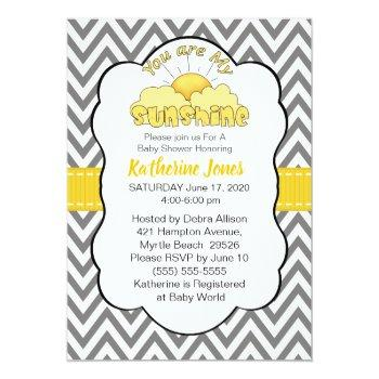 Neutral You Are My Sunshine Baby Shower Invitation