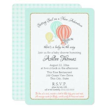 New Adventure Hot Air Balloons Baby Shower Invitation
